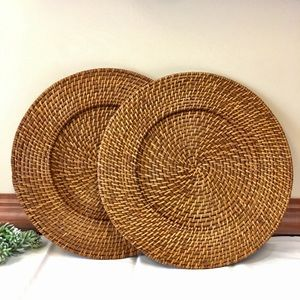Other - Woven Wicker Rattan Plate Charger Decor Set